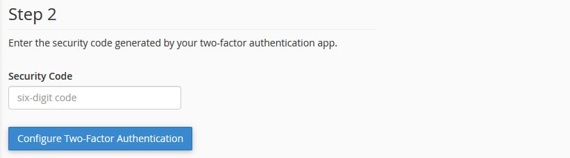 Two Factor Authentication Step 2